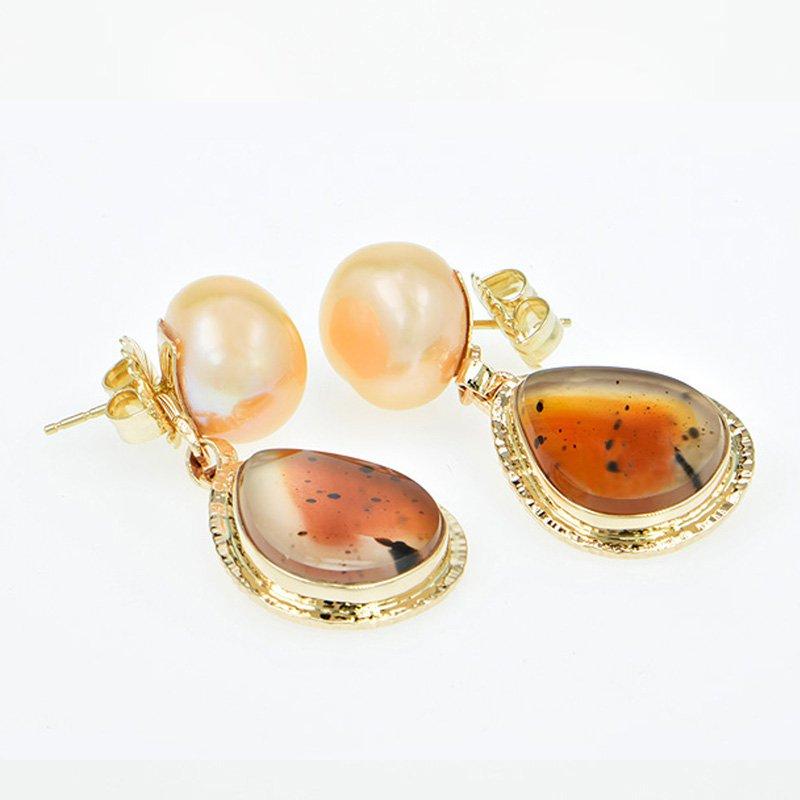 Baksa Studio Art Jewelry 14KY Apricot Quartz and Freshwater Pearl Earrings