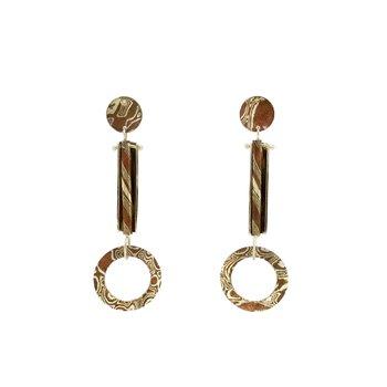 SS/Copper Mokume Gane Dangle Earrings