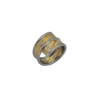 SS/22KY Mokume Gane Bypass Ring with 0.05 cttw Diamonds