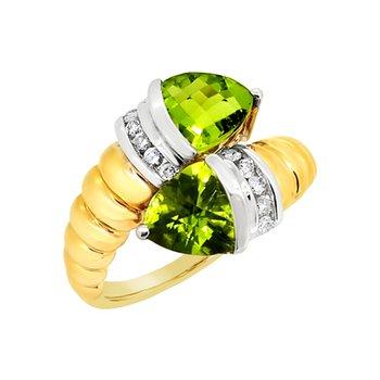 Estate 14K Two-Tone Peridot Ring