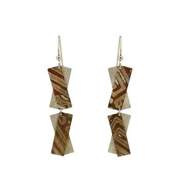 SS/Copper Mokume Gane Criss Cross Dangle Earrings