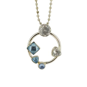 SS Blue Topaz and CZ Circle Pendant