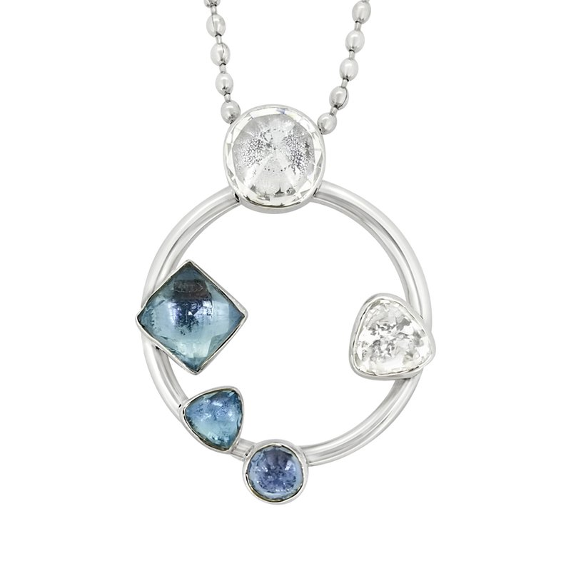 Lilly Barrack SS Blue Topaz and CZ Circle Pendant