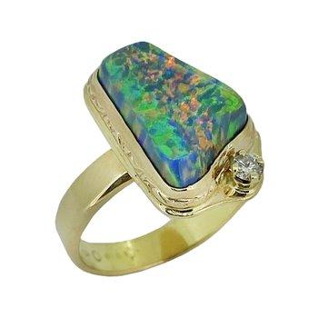 14KY Gilson Lab Created Opal Ring with Diamond