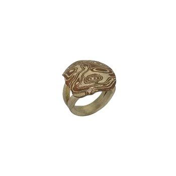 SS/Copper Mokume Gane Ring with 0.10 cttw Diamonds