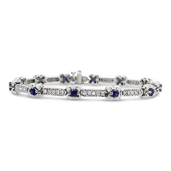 Estate 14KW Sapphire and Diamond Bracelet