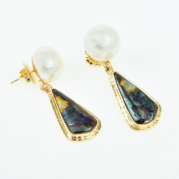 14KY Boulder Opal and Freshwater Pearl Earrings