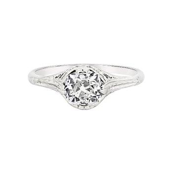 Estate 18KW Vintage Engagement Ring