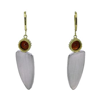 SS/14KY Fossilized Dinosaur Bone and Garnet Earrings with Diamond Accent