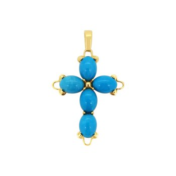 Estate 14KY Turquoise Cross
