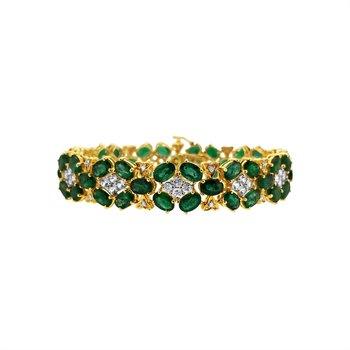 Estate 14KY Emerald and White Sapphire Bracelet