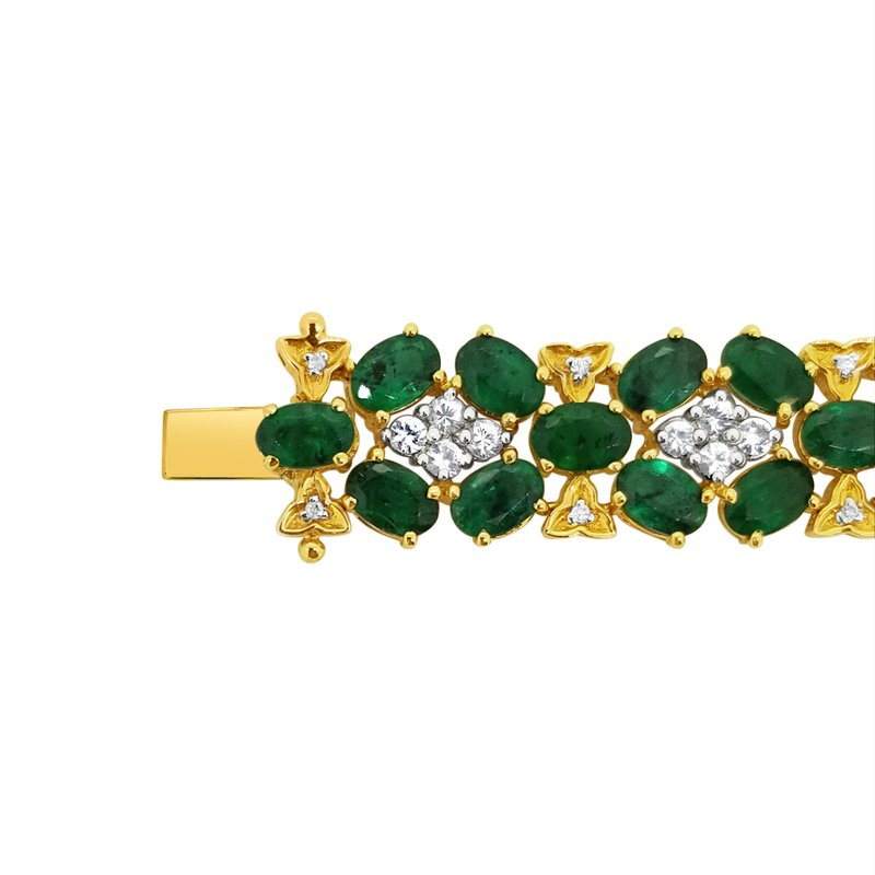 Estate Collection Estate 14KY Emerald and White Sapphire Bracelet