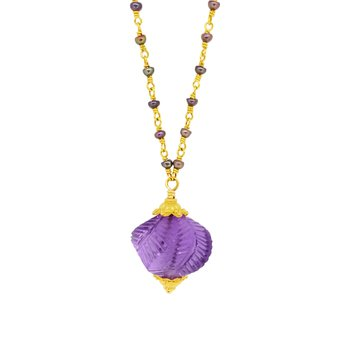 Estate Gold-Filled Carved Amethyst and Pearl Necklace