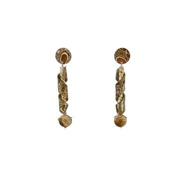 SS/Copper Mokume Gane Wind Chime Earrings with Rutilated Quartz