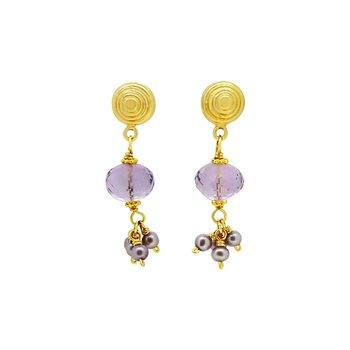 Estate Gold-Filled Amethyst & Pearl Earrings