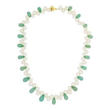Estate Freshwater Pearl and Chalcedony Necklace