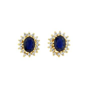 Estate 14KY Sapphire & Diamond Earrings
