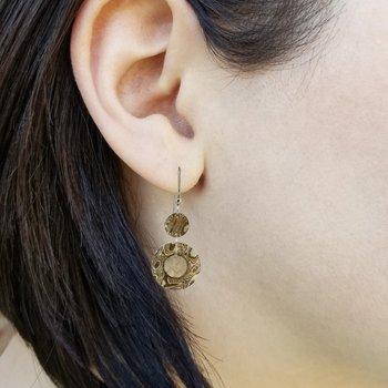 SS/Copper Mokume Gane 20 mm Washer Earrings