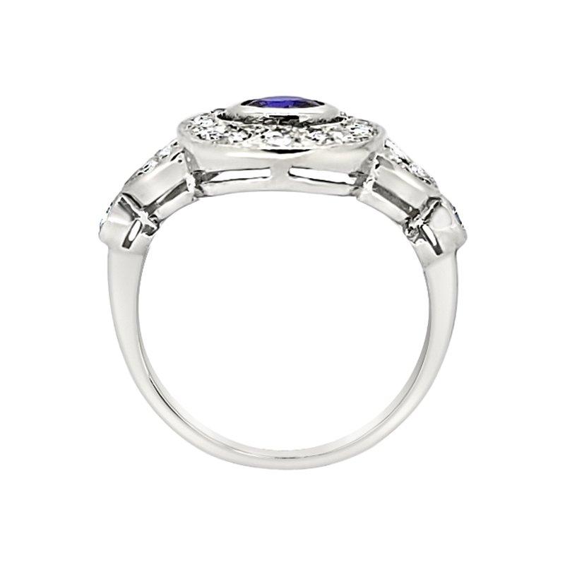 Estate Collection Estate Platinum Sapphire and Diamond Ring