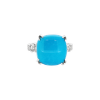 Estate Collection Estate 14KW Turquoise Ring with Diamonds
