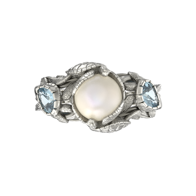 Turtle Ring with Pearl and Gemstones