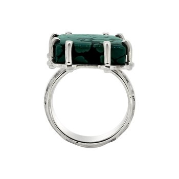 SS Spider Web Turquoise Ring