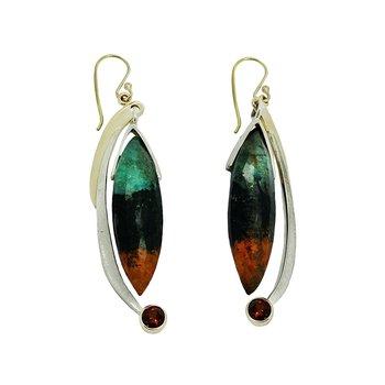 SS/14KY Chrysocolla in Cuprite and Garnet Earrings
