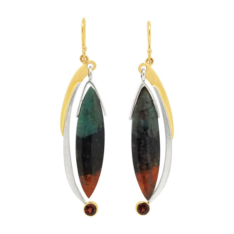 Facet Foundry Creations SS/14KY Chrysocolla in Cuprite and Garnet Earrings