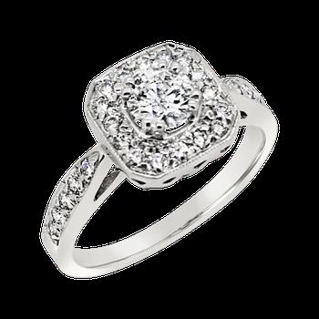 Estate 14KW Diamond Halo Ring