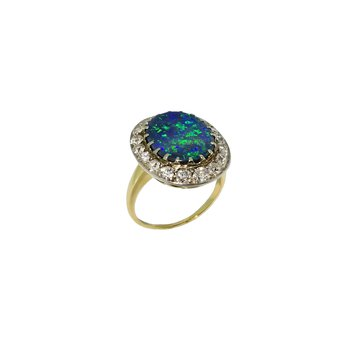 Estate 14KY Opal and Diamond Ring