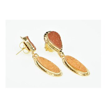 14KY Apricot and Peach Drusy Quartz Earrings