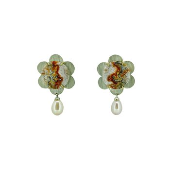 SS Crazy Lace Agate Flower Earrings with Pearl Drop
