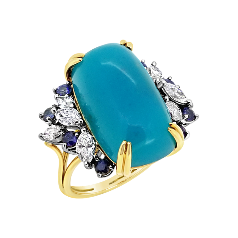 Estate Collection Estate Plat/18KY Chalcedony Ring with Sapphires and Diamonds