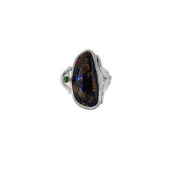 SS/14KY Boulder Opal and Tsavorite Garnet Ring