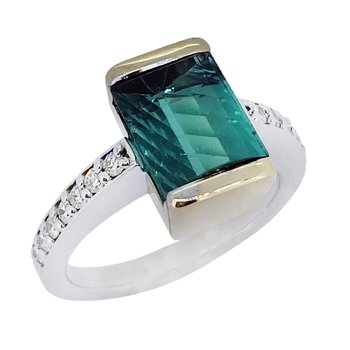 14K Two-Tone Indicolite Tourmaline Ring