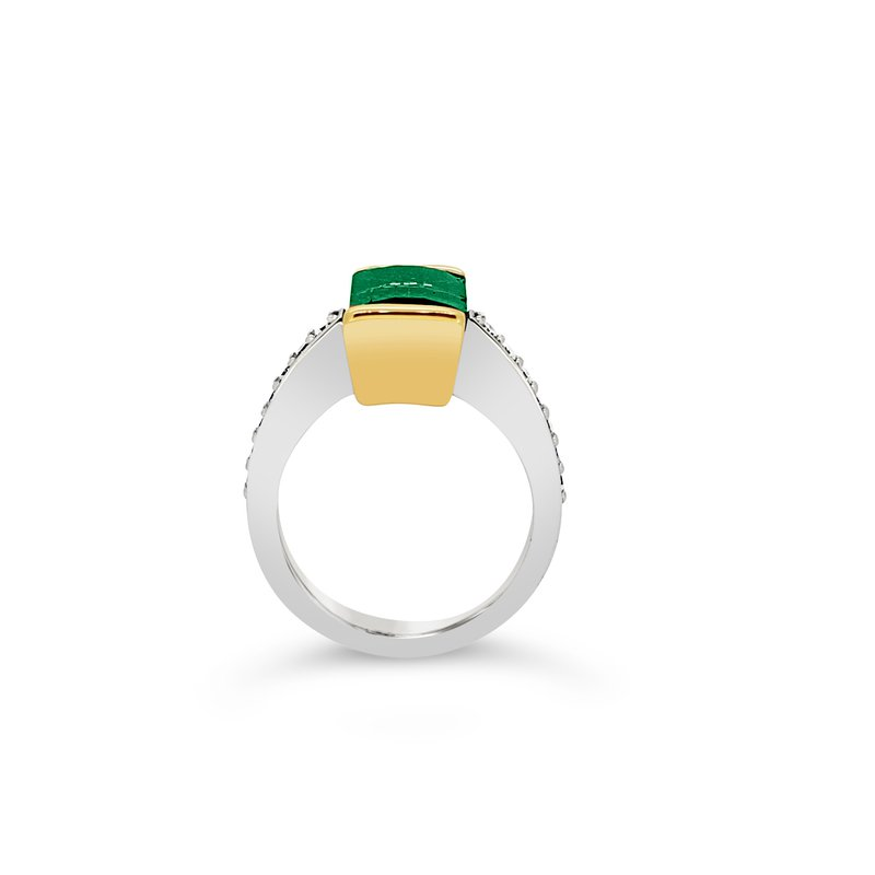 Facet Foundry Creations 14K Two-Tone Indicolite Tourmaline Ring