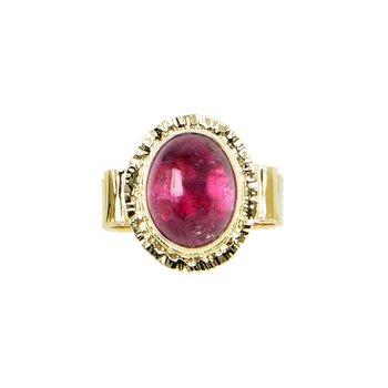 14KY Pink Tourmaline Cabochon Ring