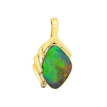 Estate 14KY Boulder Opal and Diamond Enhancer