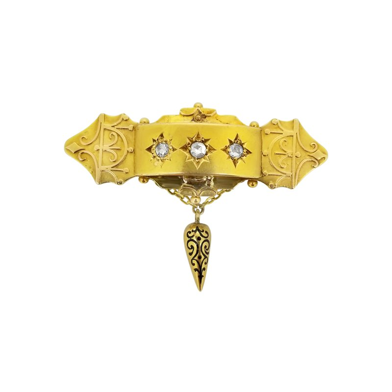 Estate Collection Estate 14KY Mourning Pin with Rose Cut Diamonds