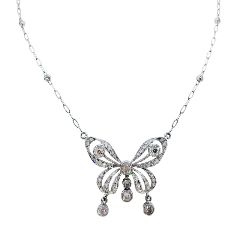 Estate Collection Estate Platinum Diamond Butterfly Necklace