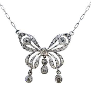 Estate Platinum Diamond Butterfly Necklace