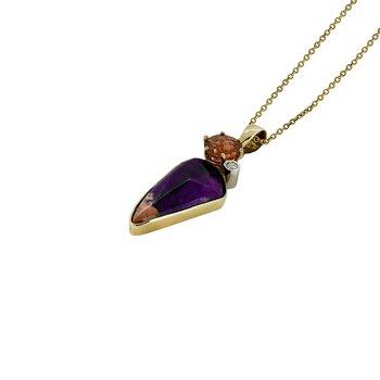 14K Two Tone Sugilite and Sunstone Pendant with Diamond Accent