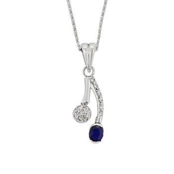 Estate 18KW Sapphire and Diamond Pendant with Chain