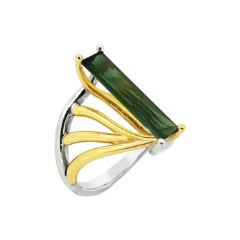 14K Two-Tone Tourmaline DNA Ring
