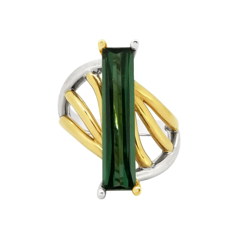 Facet Foundry Creations 14K Two-Tone Tourmaline DNA Ring