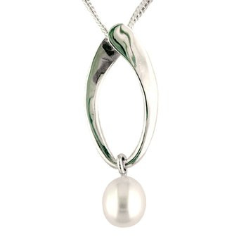 SS Oval Drop Pendant with 7 MM Cultured Pearl