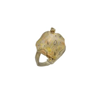SS/18KR/18KY/18KW Mokume Gane Ring with 0.07 cttw Diamonds