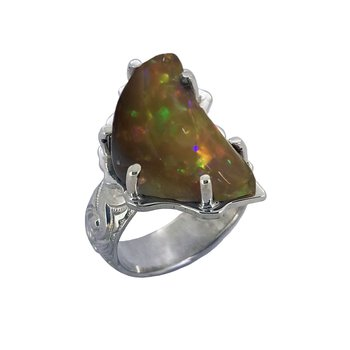 SS Chocolate Ethiopian Opal Ring