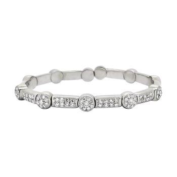 Estate 18KW Diamond Cuff Bracelet