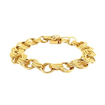 Estate 14KY Triple Link Charm Bracelet